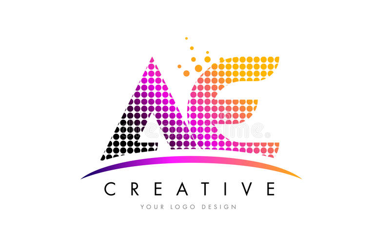 AE A D Letter Logo Design with Magenta Dots and Swoosh. AE A D Dots Letter Logo Design with Magenta Bubble Circles and Swoosh royalty free illustration