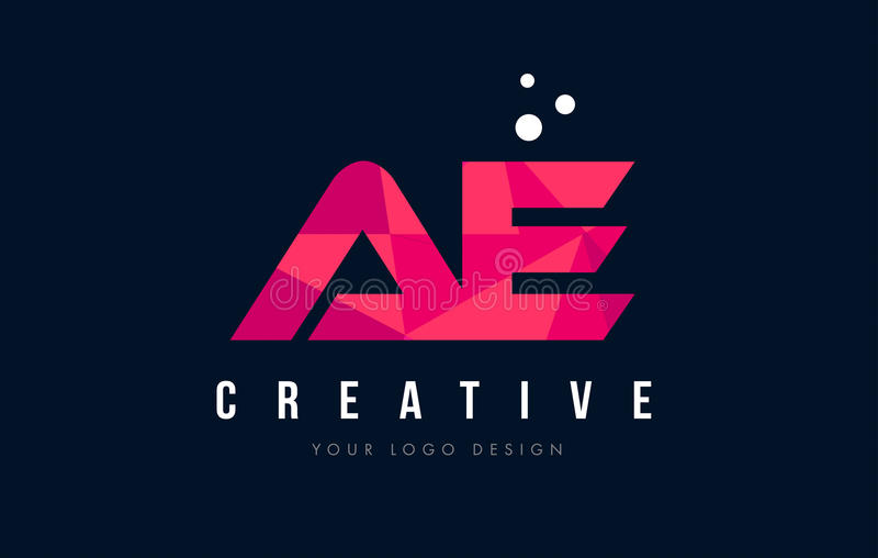 AE A D Letter Logo with Purple Low Poly Pink Triangles Concept. AE A D Purple Letter Logo Design with Low Poly Pink Triangles Concept vector illustration