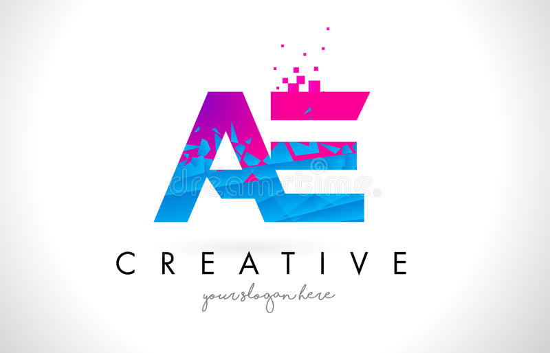 AE A D Letter Logo with Shattered Broken Blue Pink Texture Design Vector. AE A D Letter Logo with Broken Shattered Blue Pink Triangles Texture Design Vector vector illustration