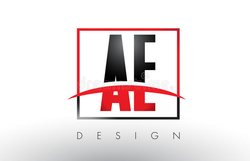 AE A D Logo Letters with Red and Black Colors and Swoosh. Creative Letter Design Vector stock illustration