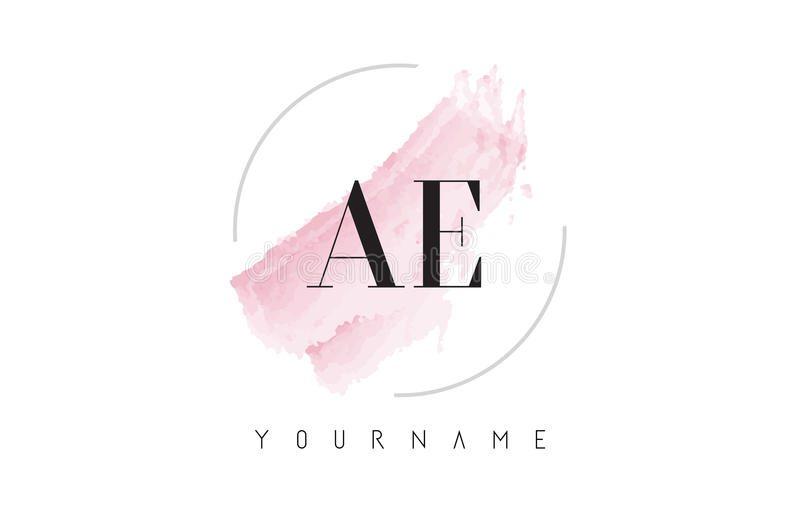 AE A D Watercolor Letter Logo Design with Circular Brush Pattern. AE A D Watercolor Letter Logo Design with Circular Shape and Pastel Pink Brush stock illustration