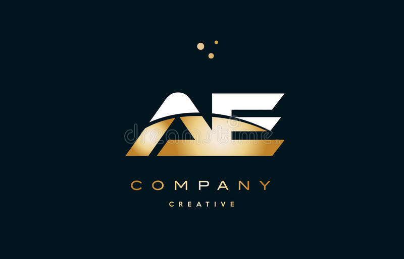 Ae a d white yellow gold golden luxury alphabet letter logo ico. Ae a d white yellow gold golden metal metallic luxury alphabet company letter logo design icon vector illustration