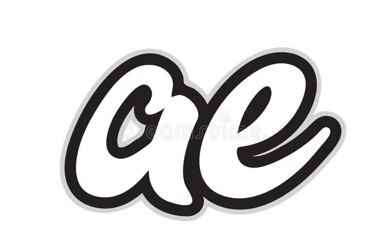 Ae a e black and white alphabet letter logo combination icon design. Design of black and white alphabet letter combination ae a e suitable as a logo for a vector illustration