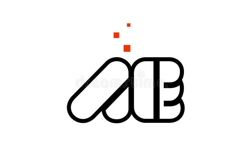AE A E black white red alphabet letter combination logo icon design. AE A E black white red dots alphabet letter combination suitable as a logo icon design for a stock illustration