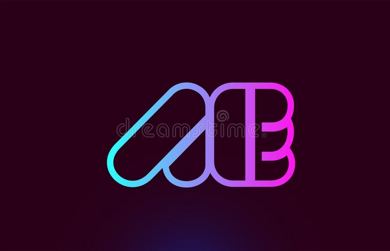 AE A E pink line alphabet letter combination logo icon design. AE A E pink line joined alphabet letter combination suitable as a logo icon design for a company stock illustration