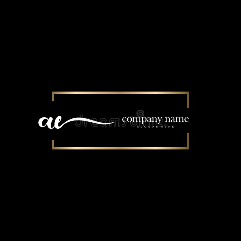 AE initial handwriting logo template vector. royalty free stock images
