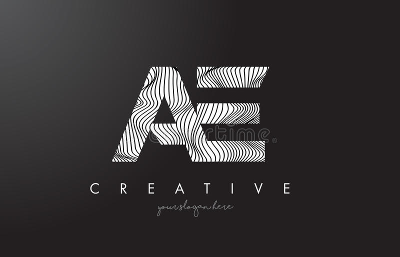 AE Letter Logo with Zebra Lines Texture Design Vector. AE Letter Logo with Zebra Lines Texture Design Vector Illustration vector illustration