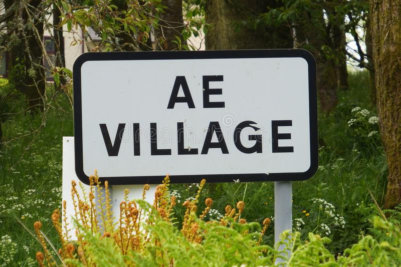 AE village. AE is a small village situated in Dumfries and Galloway, south west Scotland. The village has the shortest place name in the United Kingdom. AE was royalty free stock photo