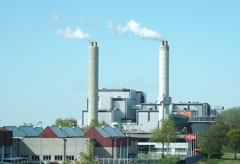 AEB Amsterdam, company for burning waste to generate energy. Amsterdam, the Netherlands. April 2019. AEB Amsterdam, a company responsible for burning waste in stock image