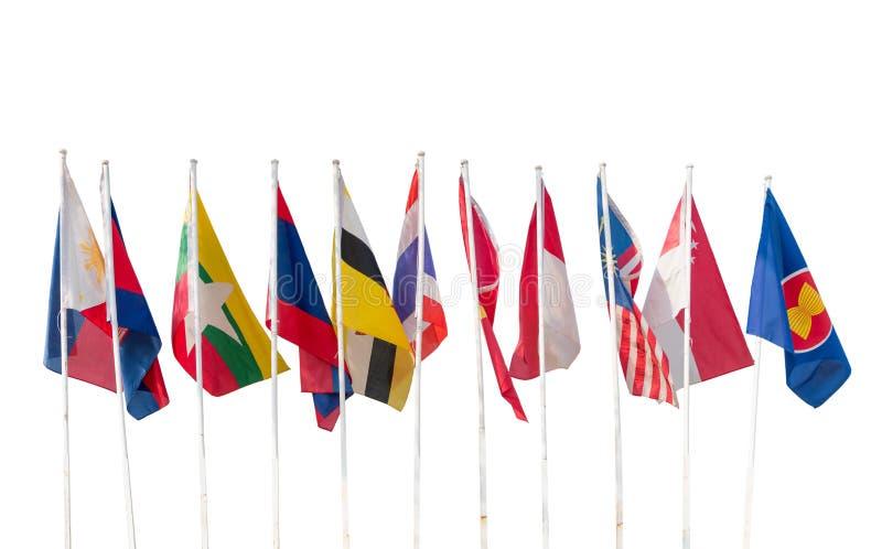 AEC,在东南亚国家联盟区域被隔绝的十面国旗 库存照片