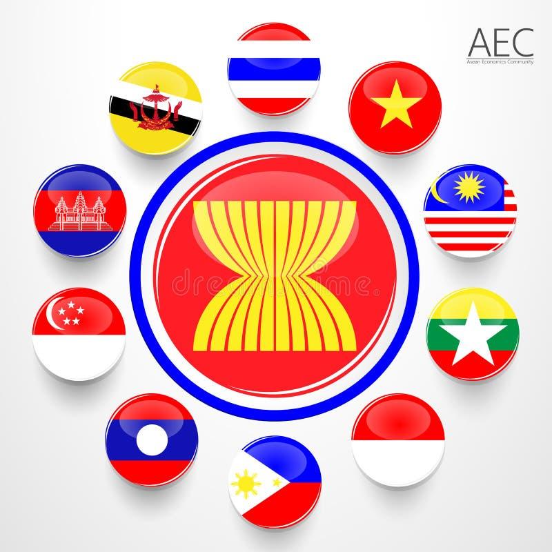 AEC, σύμβολα σημαιών οικονομικής κοινότητας της ASEAN απεικόνιση αποθεμάτων