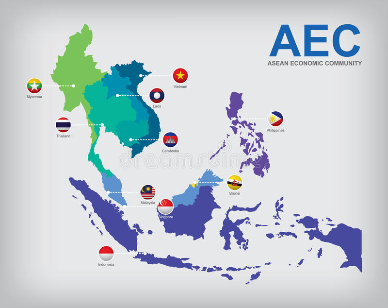 AEC countries map. AEC Asean Economic Community map vector illustration