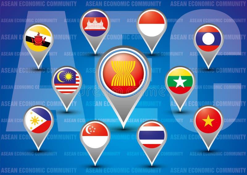 AEC för ekonomisk gemenskap för ASEAN stock illustrationer
