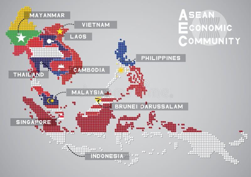 Aec kaart stock illustratie