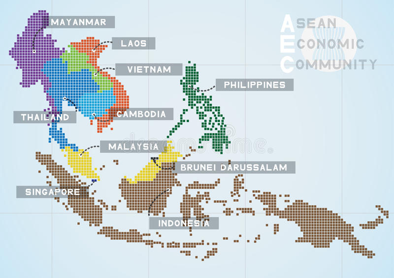 Aec map. Asian economic community map background royalty free illustration