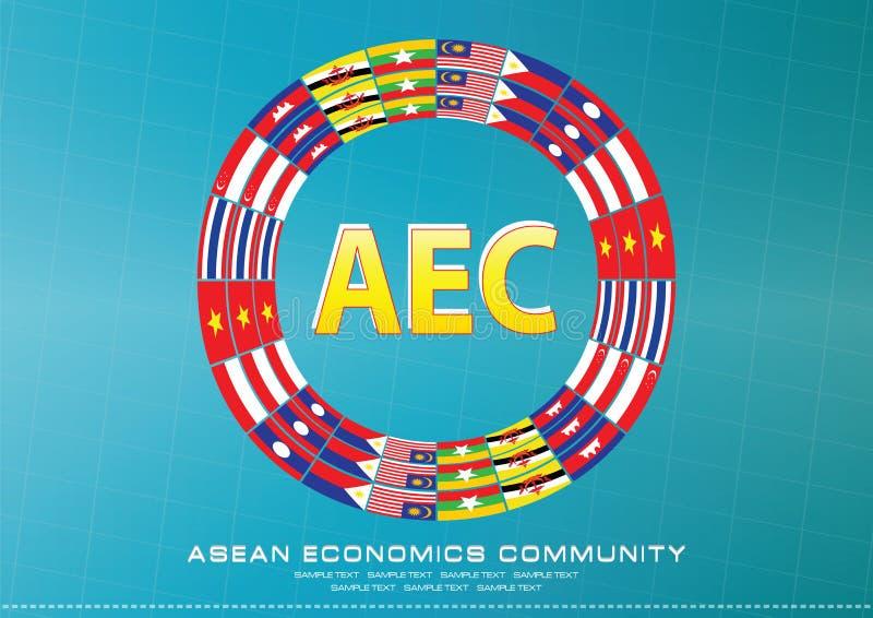 Aec o la ANSA o elemento asiático suroriental gráfico del diseño de la información ilustración del vector