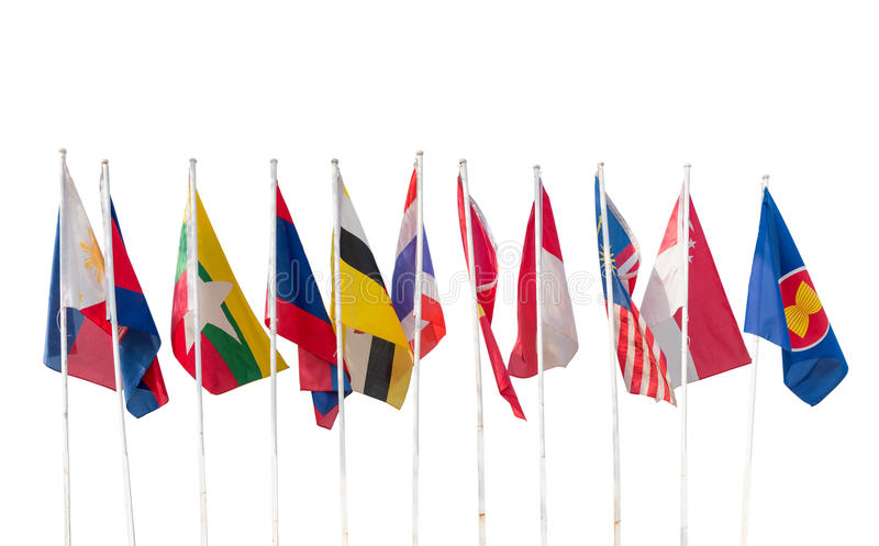 AEC, Ten countries flags in the ASEAN region isolated stock photo