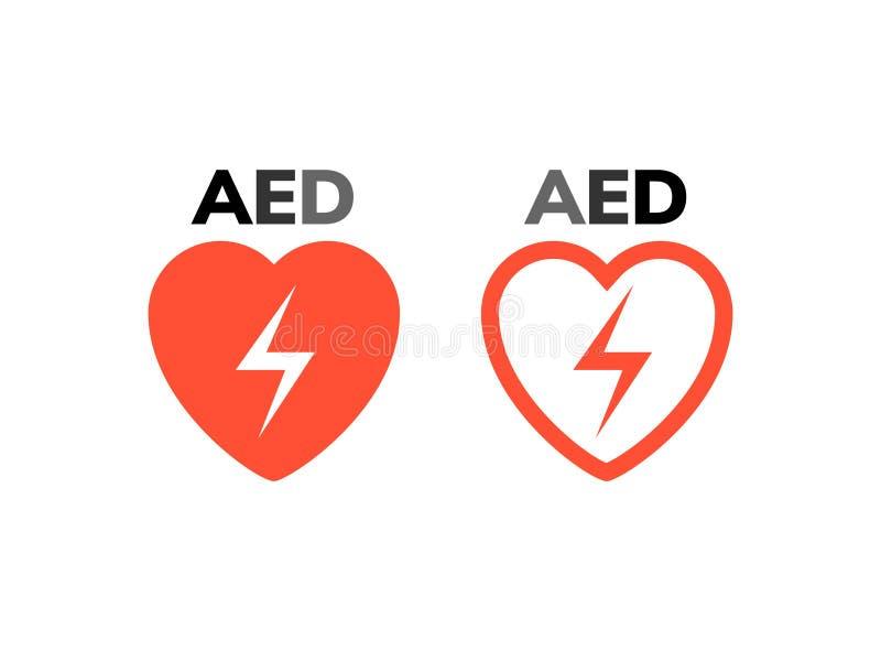 AED标志象 心脏急救去纤颤器标志 心脏攻击商标的自动化的外部设备 皇族释放例证