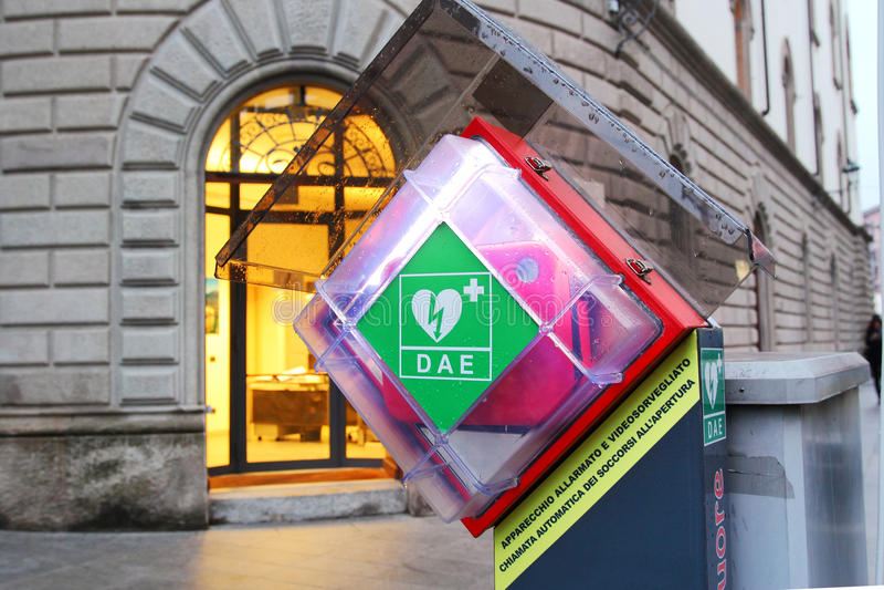 AED σε μια οδό στοκ φωτογραφία με δικαίωμα ελεύθερης χρήσης