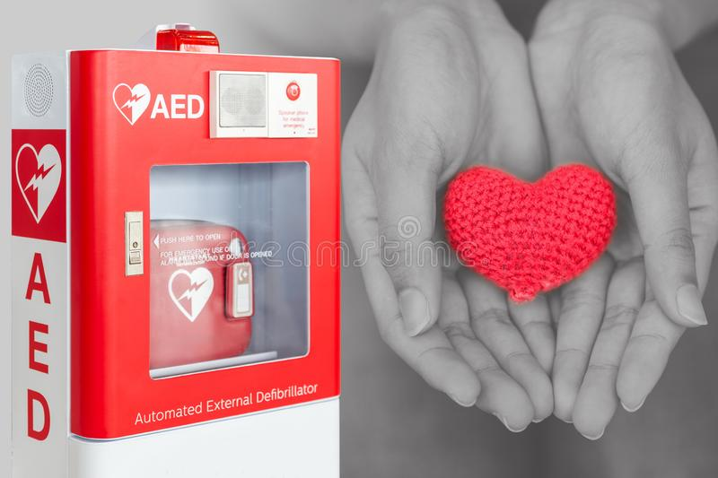 AED or Automated External Defibrillator first aid help heart stock images