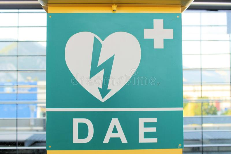 Aed. Automated External Defibrillator heart and thunderbolt stock image
