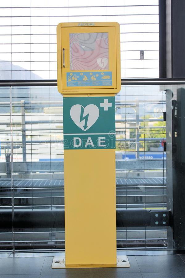 Aed. Automated External Defibrillator heart and thunderbolt stock images
