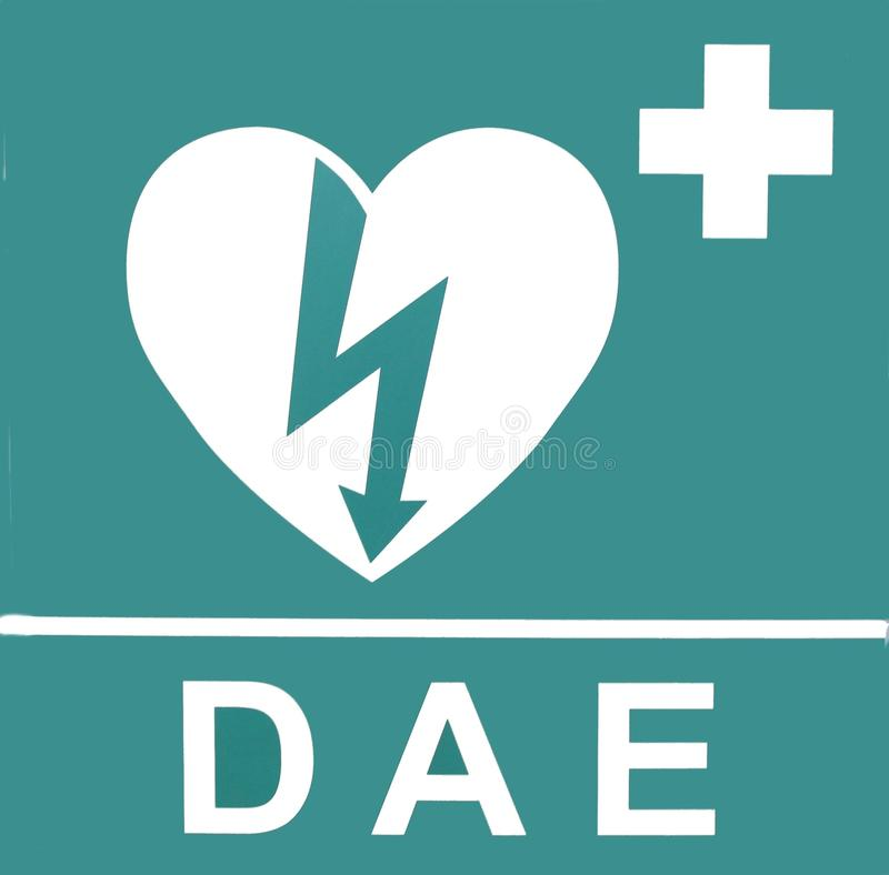 Aed. Automated External Defibrillator heart and thunderbolt stock photo