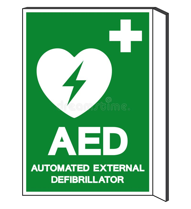 AED Automated External Defibrillator Symbol Sign, Vector Illustration, Isolate On White Background Label .EPS10 stock illustration