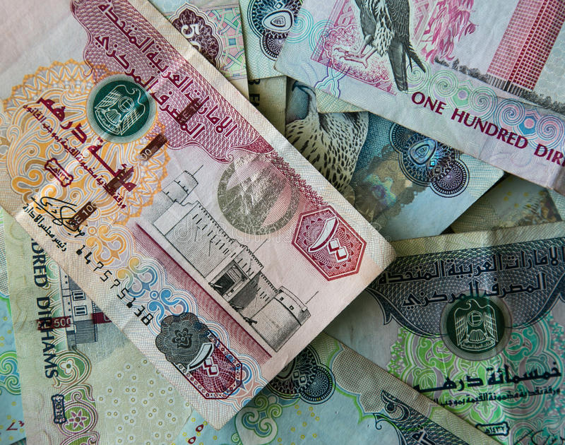 AED Dirhams. UNITED ARAB EMIRATES Dirhams money background royalty free stock photo