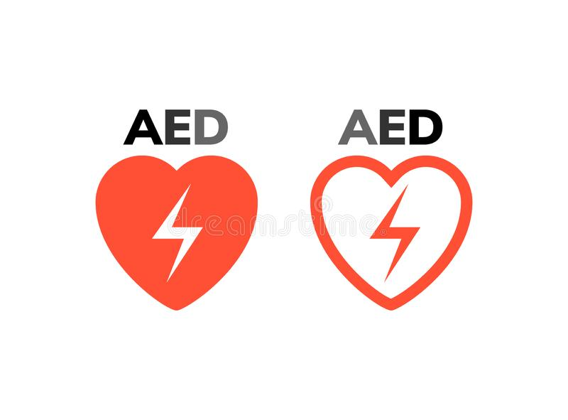 AED symbol icon. Heart first aid defibrillator sign. Automated external device for heart attack logo royalty free illustration
