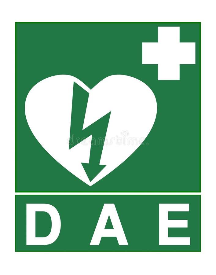 AED teken geroepen DAE in Franse taal vector illustratie
