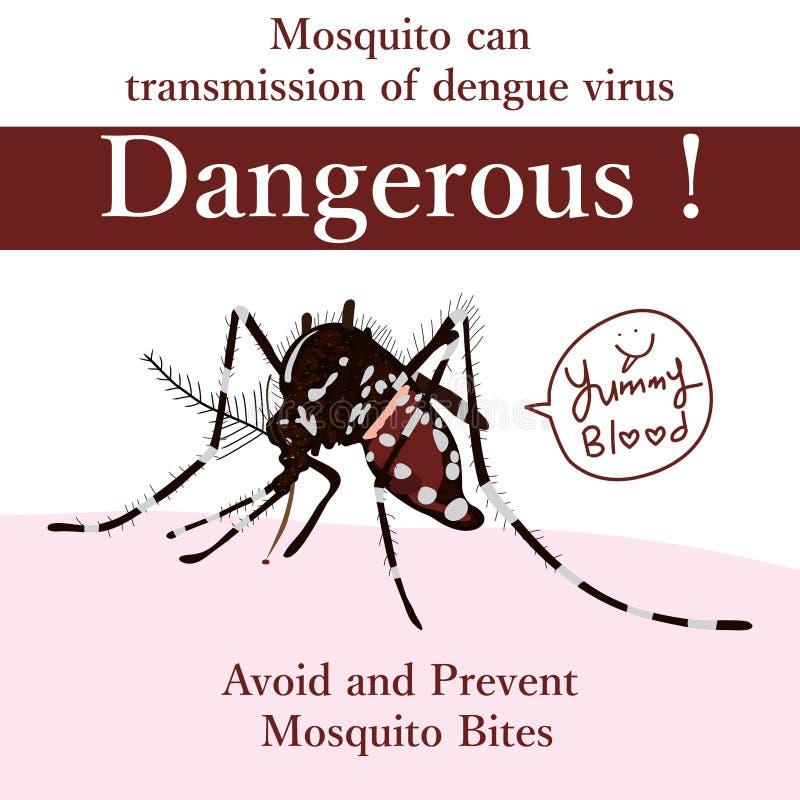 AedesAlbopictus farligt kort royaltyfri illustrationer