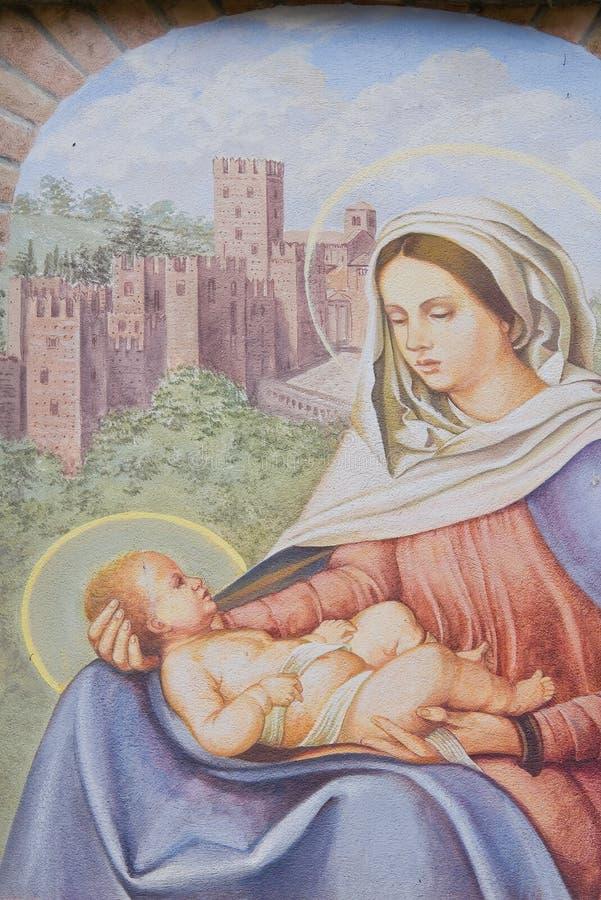Aedicule votif. Castell'Arquato. Émilie-Romagne. L'Italie. photographie stock
