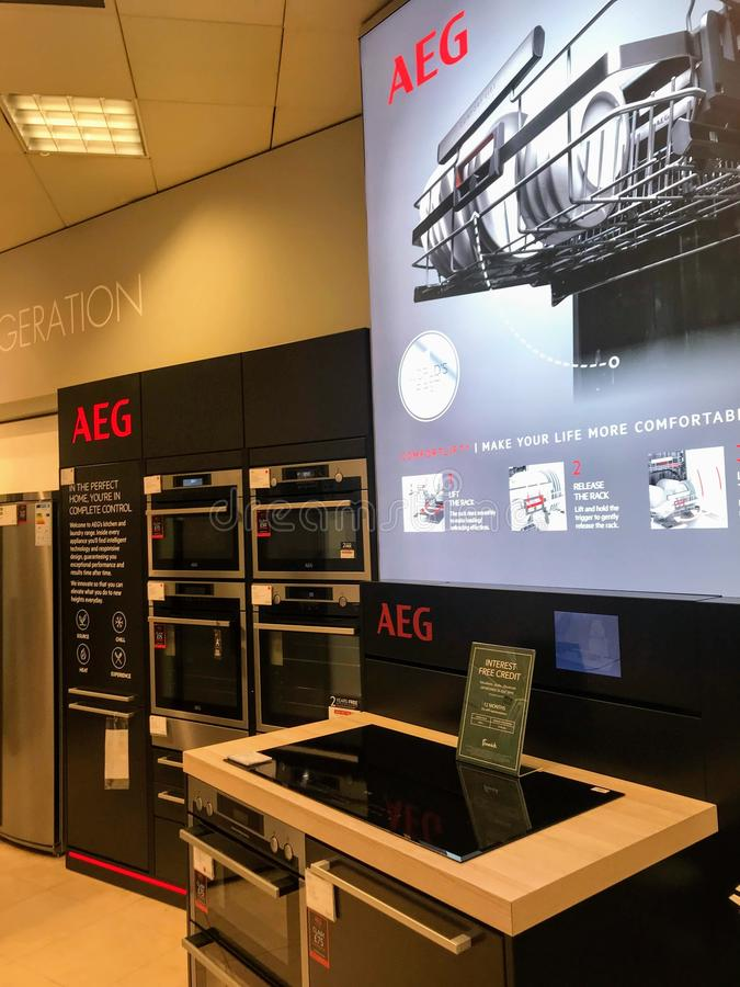 AEG counter in a department store of London stock photos