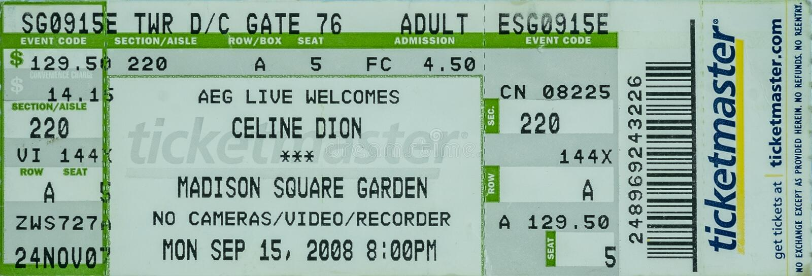 Celine Dion ticket Madison Square Garden royalty free stock image