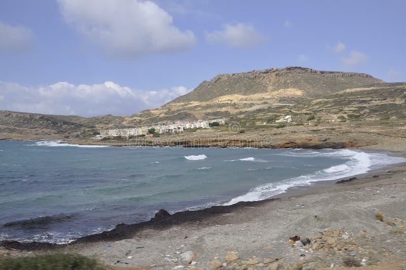 Aegean Coastline from Hersonissos beach stock image