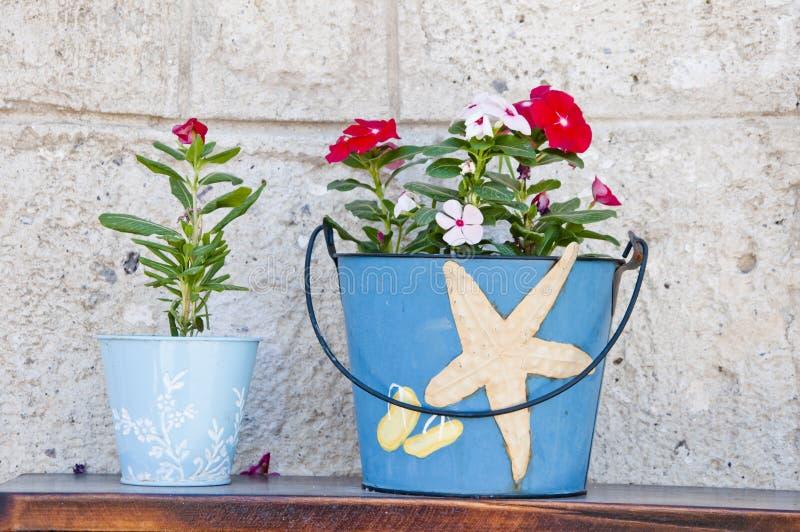 Aegean Flowerpots Stock Image