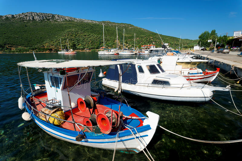 Download Aegean harbour stock image. Image of greece, coast, rock - 14631349