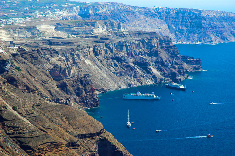 The Aegean sea. Sailing in the Aegean sea off the coast of Santorini stock images