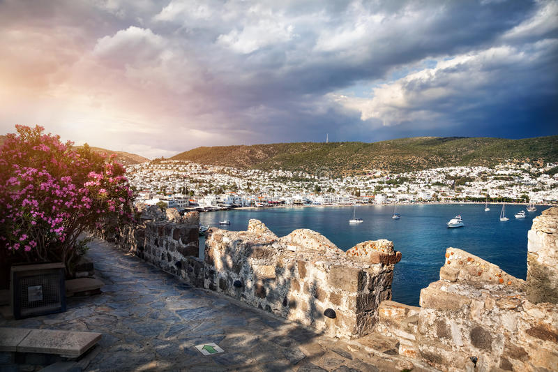 Aegean Sea from the Bodrum Castle. View to the Bay in Aegean Sea from the Wall of Bodrum Castle, Turkey royalty free stock photo