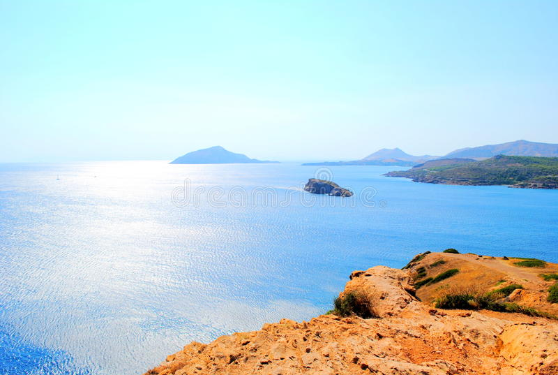 Aegean sea. A seascape of the aegean sea. view from sounion, athens, greece royalty free stock image