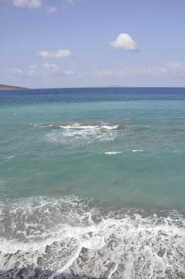 Aegean Seascape from Hersonissos beach stock image