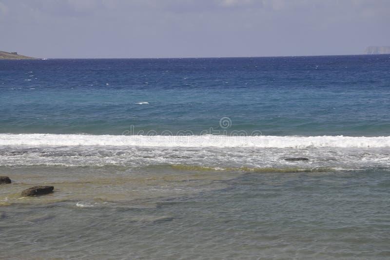 Aegean Seascape from Hersonissos beach stock photo