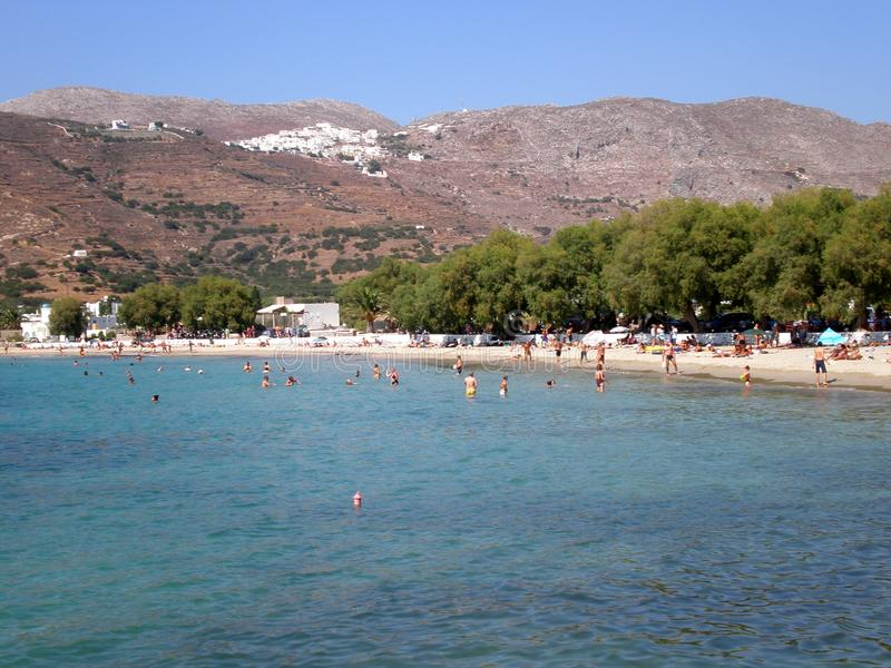 Aegiali,阿莫尔戈斯岛海岛,基克拉泽斯,希腊普遍的海滩  免版税库存照片