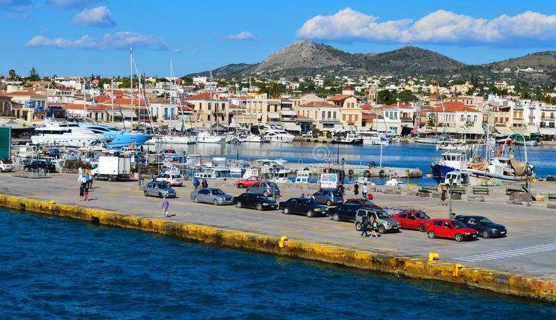 Aegina port in Aegina island, Greece on June 19, 2017. AEGINA, GREECE - JUNE 19: Aegina port in Aegina island, Greece on June 19, 2017 stock photography