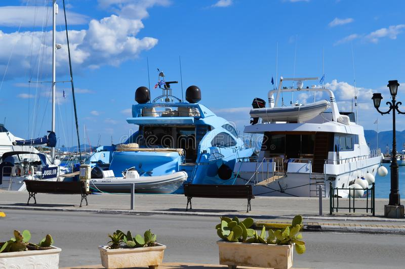 Aegina port in Aegina island, Greece on June 19, 2017. AEGINA, GREECE - JUNE 19: Aegina port in Aegina island, Greece on June 19, 2017 royalty free stock image