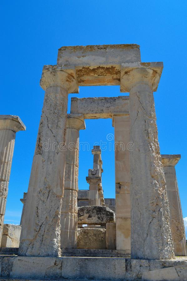 The Temple of Aphaia in Aegina, Greece on June 19, 2017. AEGINA, GREECE - JUNE 19: The Temple of Aphaia in Aegina, Greece on June 19, 2017 stock images
