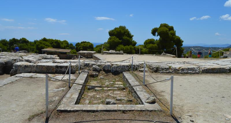The Temple of Aphaia in Aegina, Greece on June 19, 2017. AEGINA, GREECE - JUNE 19: The Temple of Aphaia in Aegina, Greece on June 19, 2017 stock photography