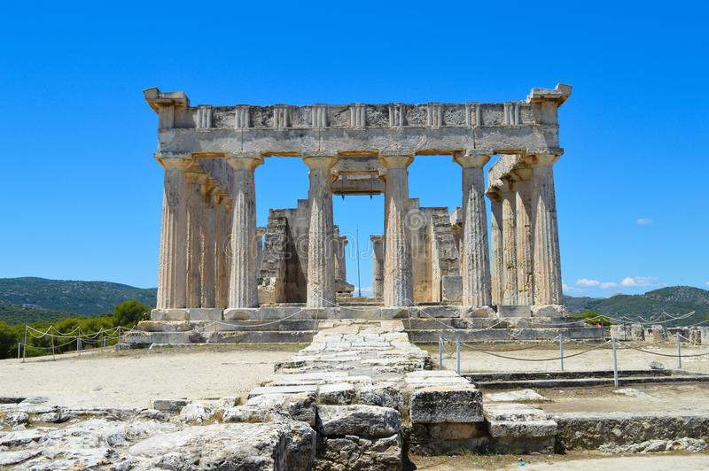 The Temple of Aphaia in Aegina, Greece on June 19, 2017. AEGINA, GREECE - JUNE 19: The Temple of Aphaia in Aegina, Greece on June 19, 2017 stock image