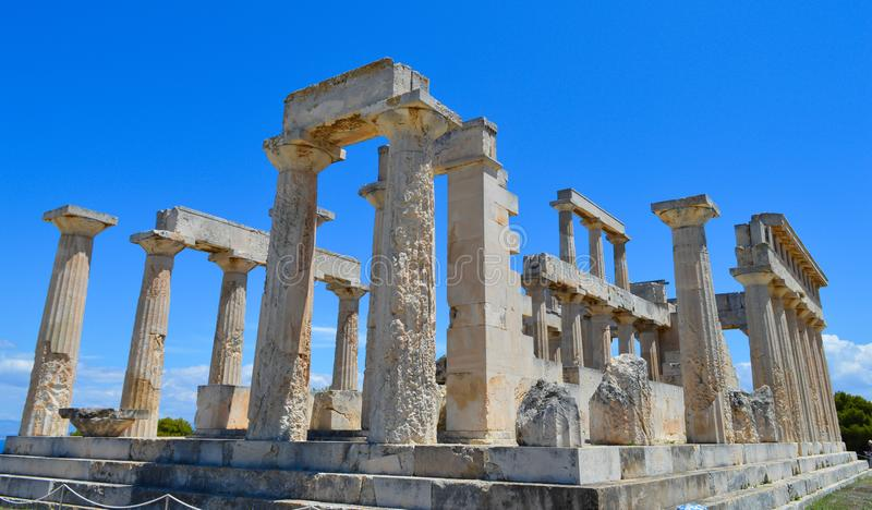 The Temple of Aphaia in Aegina, Greece on June 19, 2017. AEGINA, GREECE - JUNE 19: The Temple of Aphaia in Aegina, Greece on June 19, 2017 stock photos